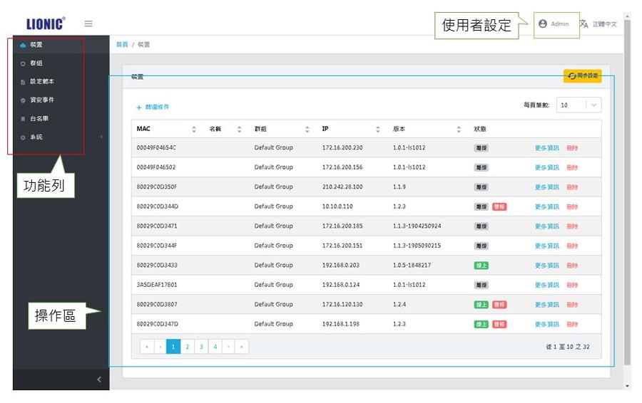 Pico-UTM-100中央管理系統